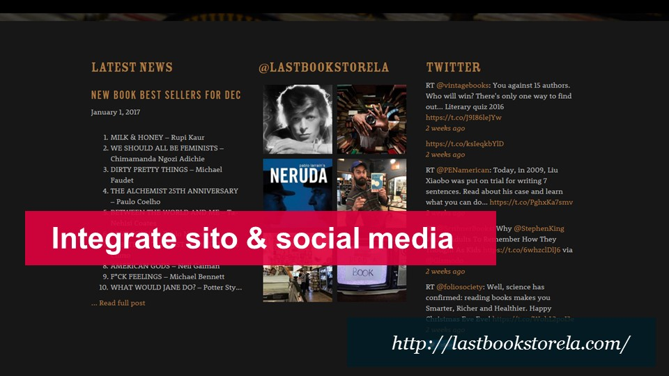 Integrate sito web e social media